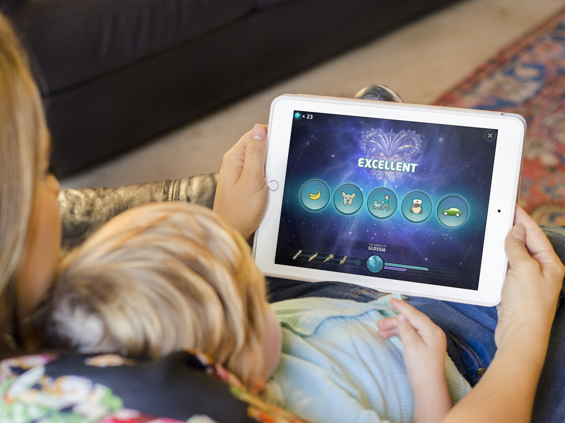 Mother and child exploring Soundstorm app